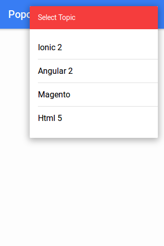 Ionic 2 Popover Example - Controller | Template | Demo