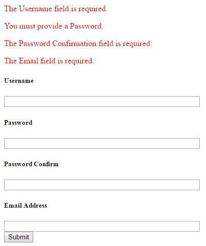 Codeigniter Form Validation Library